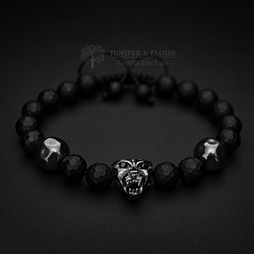 Panther Bracelet With Hammered Beads