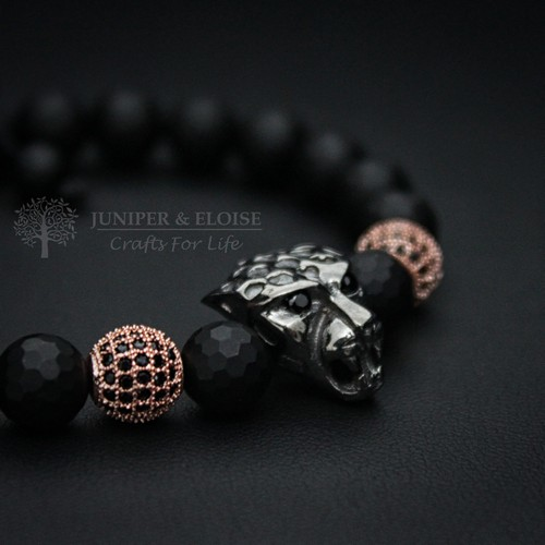 BLACK PANTHER BRACELET WITH ROSE GOLD SPACER BEADS