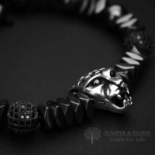 MENS PANTHER BRACELET WITH BLACK ZIRCON SPACER BEADS