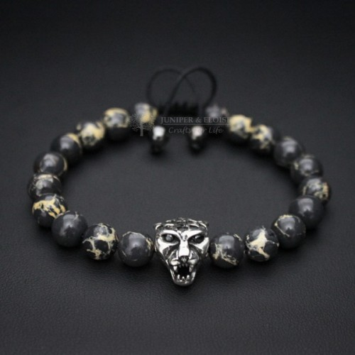 Gray Variscia Panther Bracelet For Men