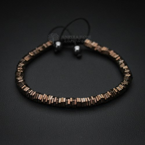 Bronze Hexagon Hematite Mens Bracelet