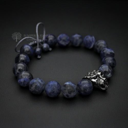 Blue Sodalite Beaded Panther Bracelet For Men