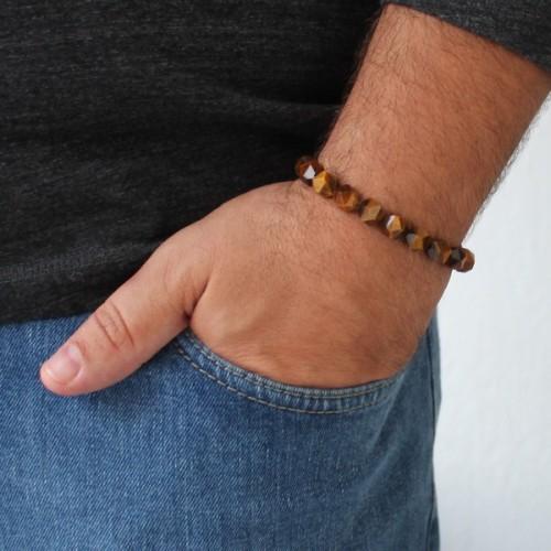 Hand Cut Tigers Eye Beaded Bracelet For Men