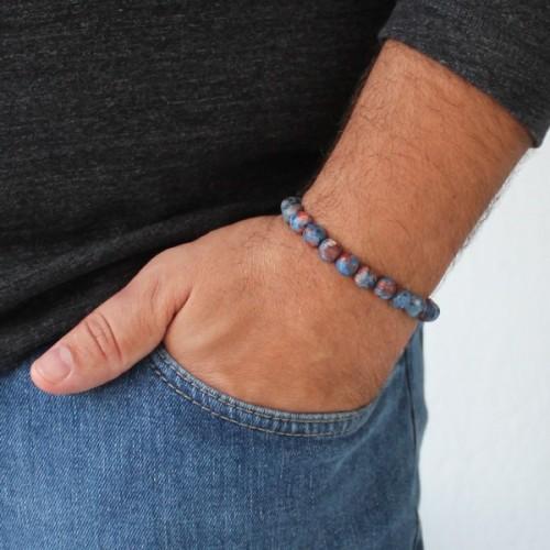 Blue Red Camo Beaded Bracelet