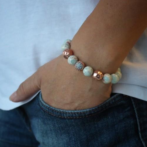 Quartz Beaded Bracelet With Aquamarine Zircon Spacer Beads