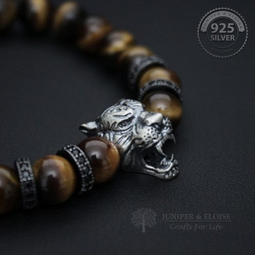 Mens Tiger Bracelet with Black Zircon Spacer Beads