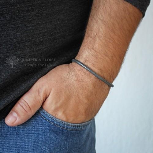 Matte Gray Snake Beaded Bracelet