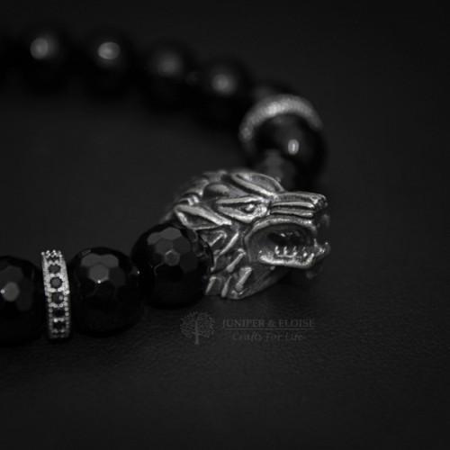 Black Beaded Silver Wolf Bracelet For Men