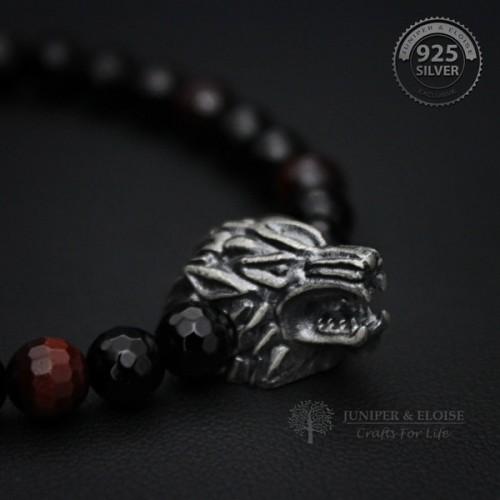 Onyx Beaded Silver Wolf Bracelet For Men