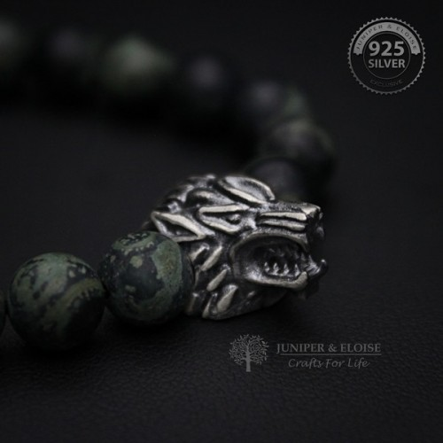 Green Camouflage Beaded Wolf Bracelet For Men