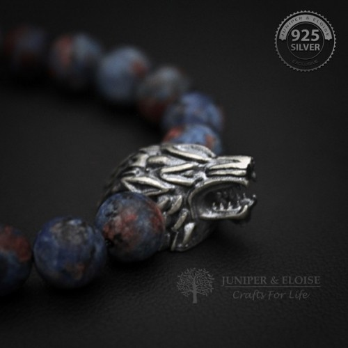 Blue Red Camouflage Beaded Wolf Bracelet For Man