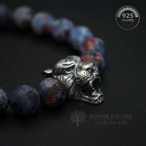 Blue Red Camouflage Beaded Tiger Bracelet for Men