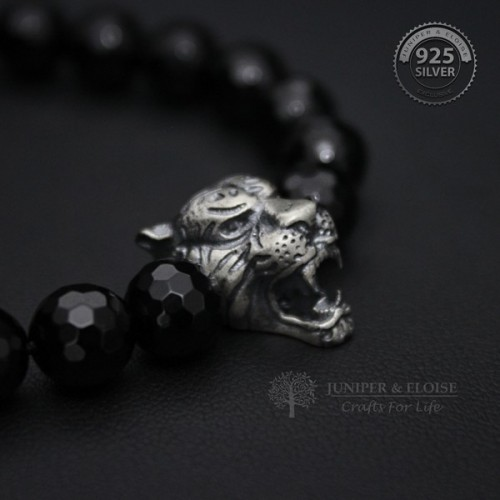 Black Onyx Beaded Tiger Bracelet for Men