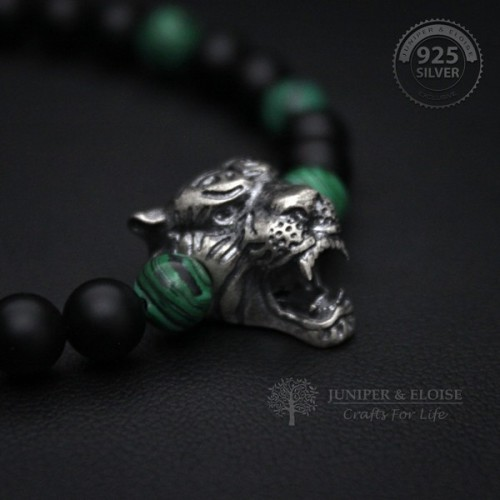 Black and Green Beaded Silver Tiger Bracelet
