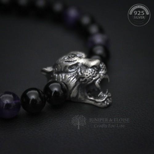Mens Black And Amethyst Beaded Tiger Bracelet
