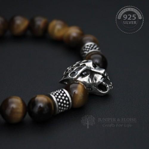 Tiger's Eye Beaded Panther Bracelet For Men