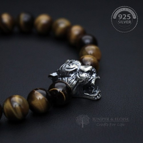 Mens Tiger Bracelet with Tigers Eye Beads