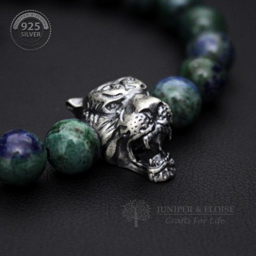 Mens Tiger Bracelet with Azurite Beads