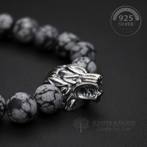 Black Gray Camo Beaded Wolf Bracelet For Man