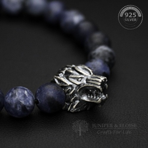 Matte Sodalite Beaded Winter Wolf Bracelet For Man