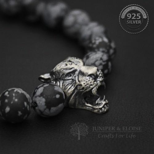 Monochrome Camo Beaded Tiger Bracelet for Men