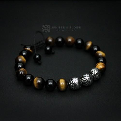 Tiger Eye and Steel Beaded Bracelet