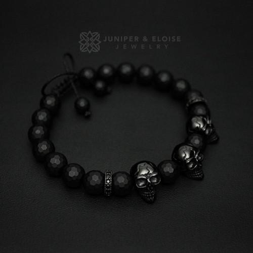Faceted Onyx Beaded Black Skull Charm Bracelet