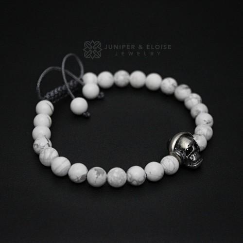White Beaded 925 Silver Dj Skull Bracelet