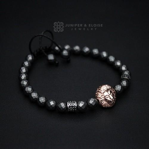 Matte Hematite Beaded Rose Gold Lion Bracelet