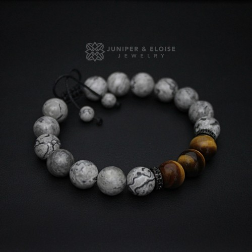 Gray Jasper and Tiger Eye Lantern Bracelet