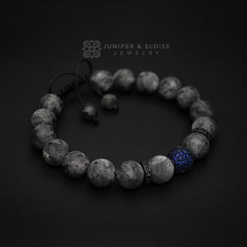 Mens Matte Labradorite and Sapphire Blue Zircon Bracelet