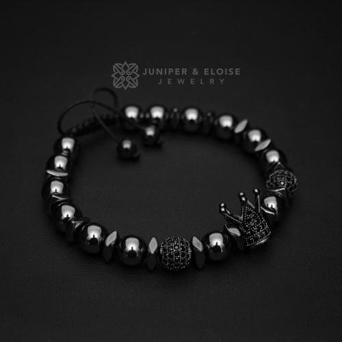 Hematite Beaded Black Crown Bracelet