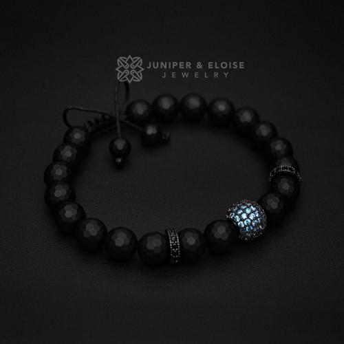 Mens Matte Onyx and Aquamarine Zircon Bracelet