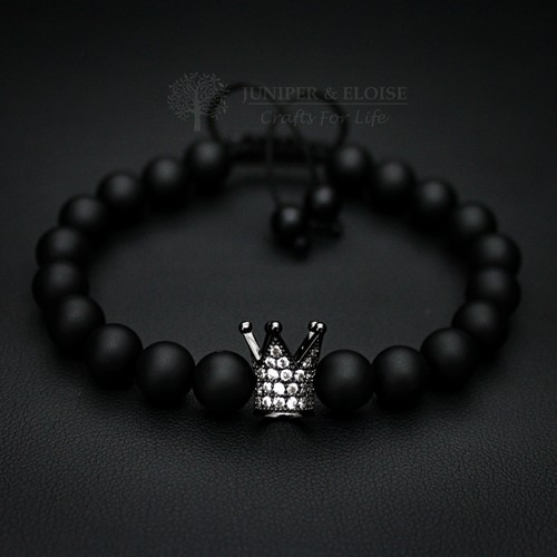 COUPLE BRACELETS WITH ROSE GOLD AND BLACK CROWNS