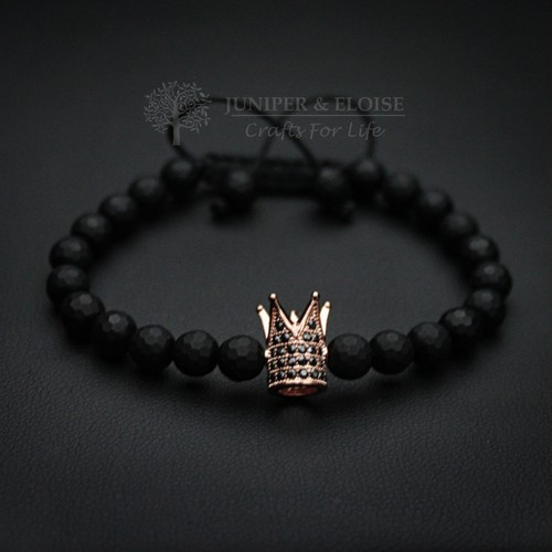 COUPLE BRACELETS WITH ROSE GOLD AND BLACK ZIRCON CROWNS