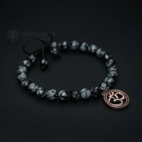 Rose Gold and Black Ohm Couple Bracelets