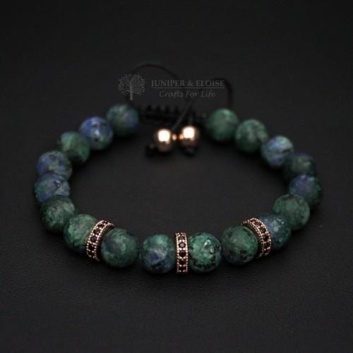 Blue and Gray Jade Couple Bracelets