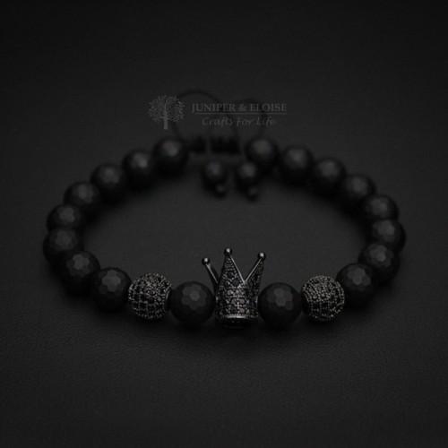 Fuchsia and Black CZ Diamond Crown Couple Bracelets