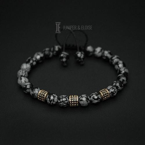 Obsidian Beaded Couple Bracelets