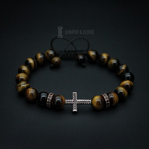 Tiger Eye and Onyx Beaded Couple Bracelets With Cross