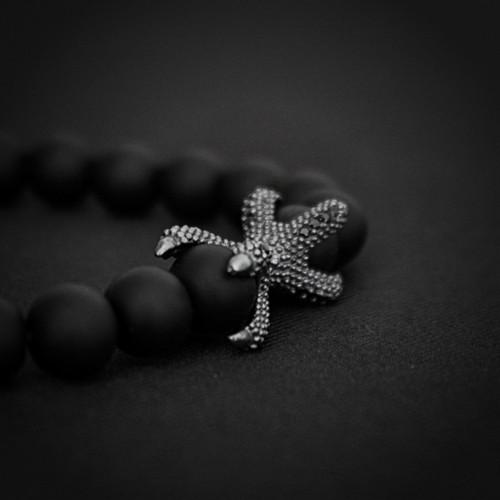 Black Onyx Beads  & 925 Silver Eagle Claw Charm Bracelet