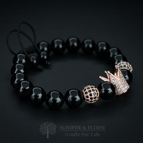 Onyx & Rose Gold Crown Bracelet