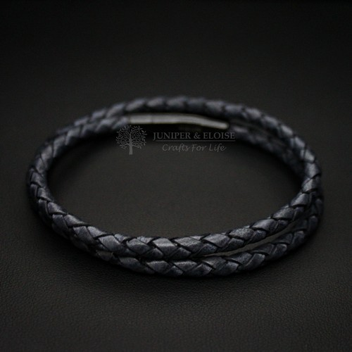 DARK BLUE LEATHER BRACELET