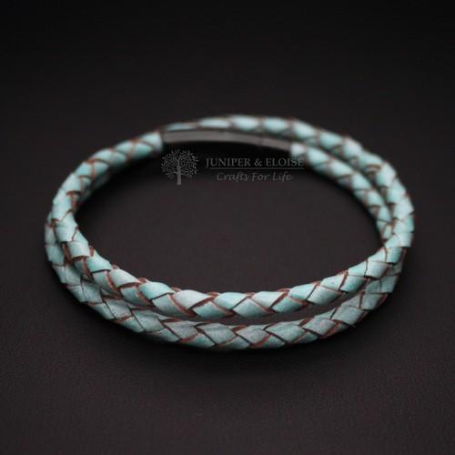 TEAL LEATHER BRACELET WITH BLACK CLASP