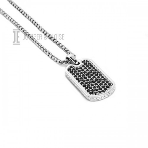 Black CZ Diamond Tag Necklace For Men