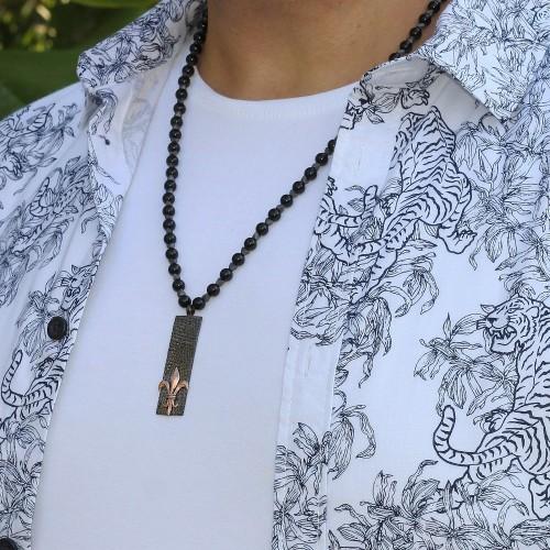 Mens Bar Pendant Onyx Beaded Necklace