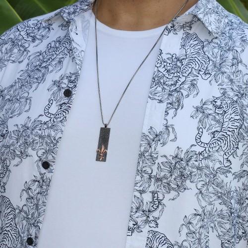 Men's Fleur De Lis Marked Bar Pendant Necklace