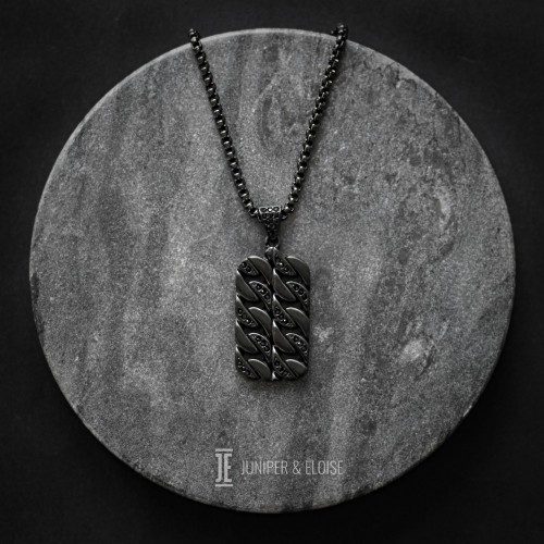 Black Zircon and Steel Necklace For Men