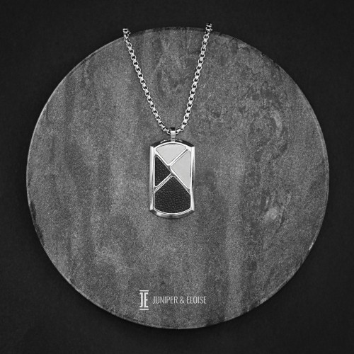 Black and Silver Steel Tag Pendant Necklace For Men