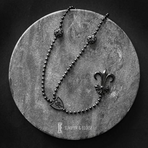 Black Steel Fleur De Lis Long Necklace For Men